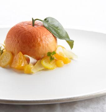Mandarijn met witte chocolade, speculaas  en kumquat