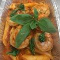 Penne - tomaat - olijf - scampi beschikbaar vanaf woensdag 22 april
